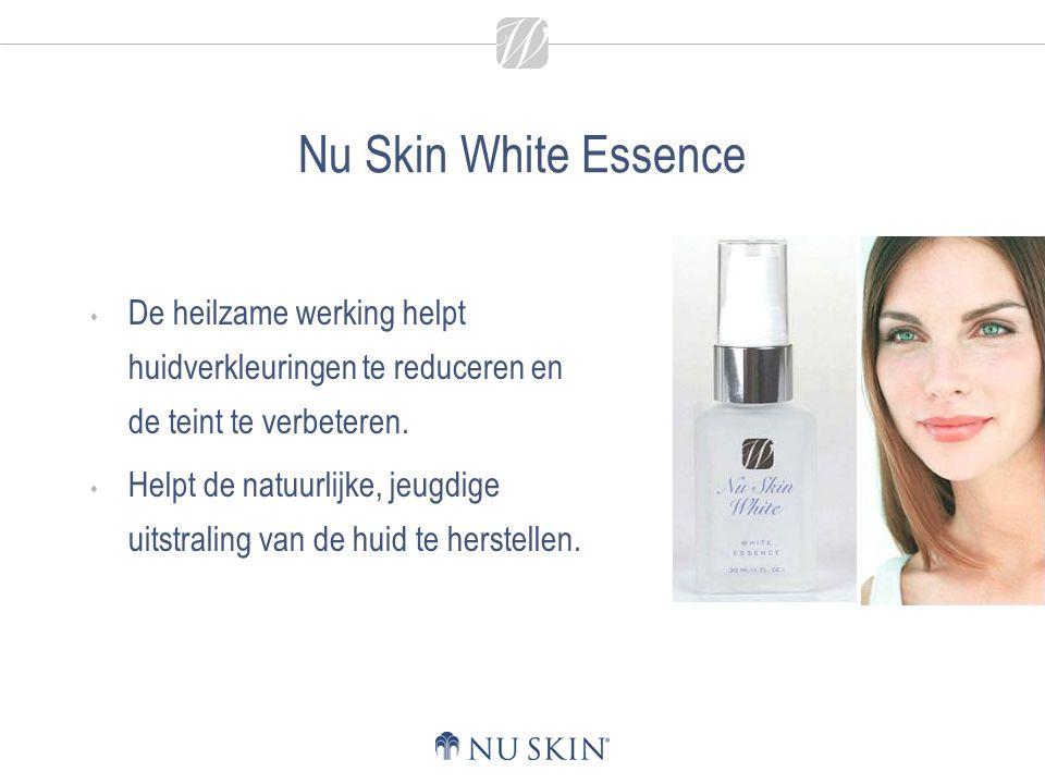 Nu Skin White Essence  De heilzame werking helpt huidverkleuringen te reduceren en de teint te verbeteren.  Helpt de natuurlijke, jeugdige uitstrali