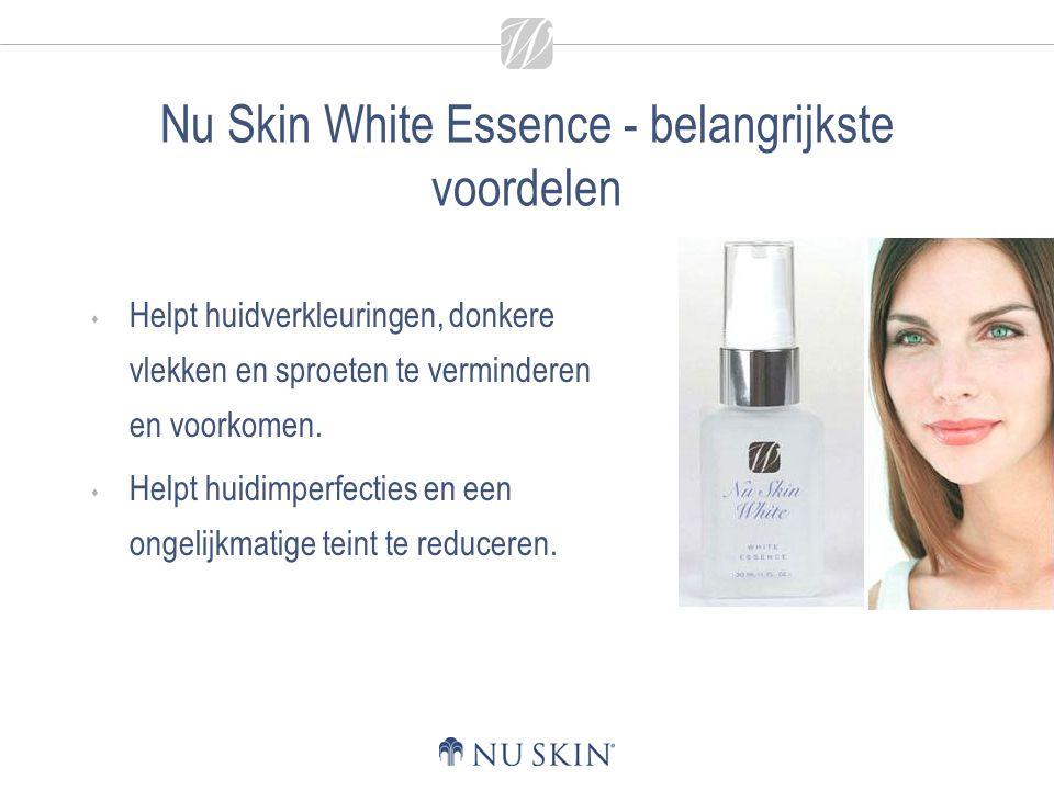 Nu Skin White Essence - belangrijkste voordelen  Helpt huidverkleuringen, donkere vlekken en sproeten te verminderen en voorkomen.  Helpt huidimperf