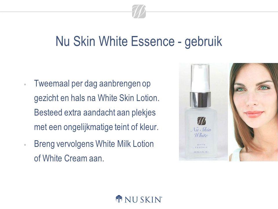 Nu Skin White Essence - gebruik  Tweemaal per dag aanbrengen op gezicht en hals na White Skin Lotion. Besteed extra aandacht aan plekjes met een onge