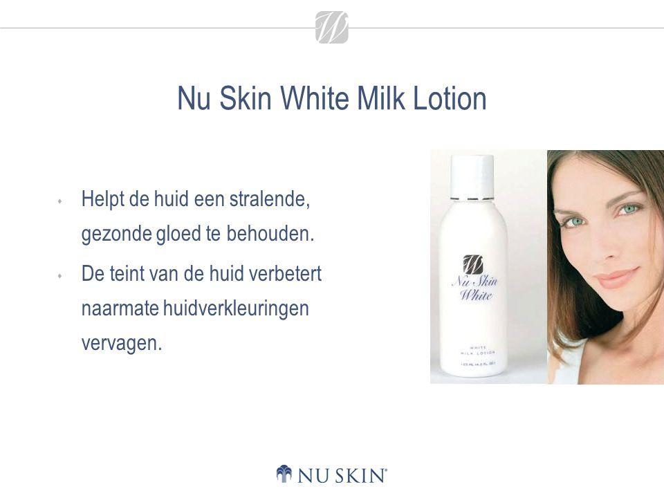Nu Skin White Milk Lotion  Helpt de huid een stralende, gezonde gloed te behouden.  De teint van de huid verbetert naarmate huidverkleuringen vervag