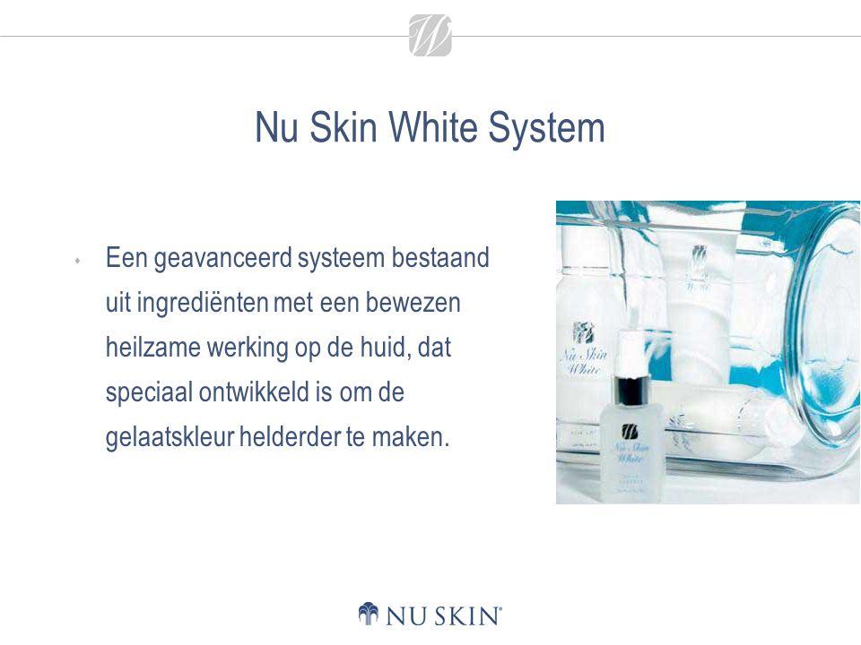 Nu Skin White System  De Nu Skin White productlijn reduceert op effectieve wijze huidverkleuringen, donkere vlekken en sproeten ten gevolge van overmatige bloostelling aan de zon, een bovenmatige melanineproductie en het natuurlijke verouderingsproces.