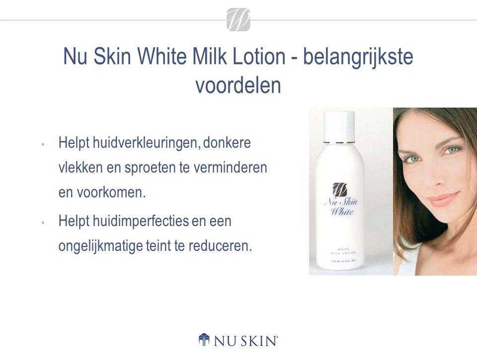 Nu Skin White Milk Lotion - belangrijkste voordelen  Helpt huidverkleuringen, donkere vlekken en sproeten te verminderen en voorkomen.  Helpt huidim