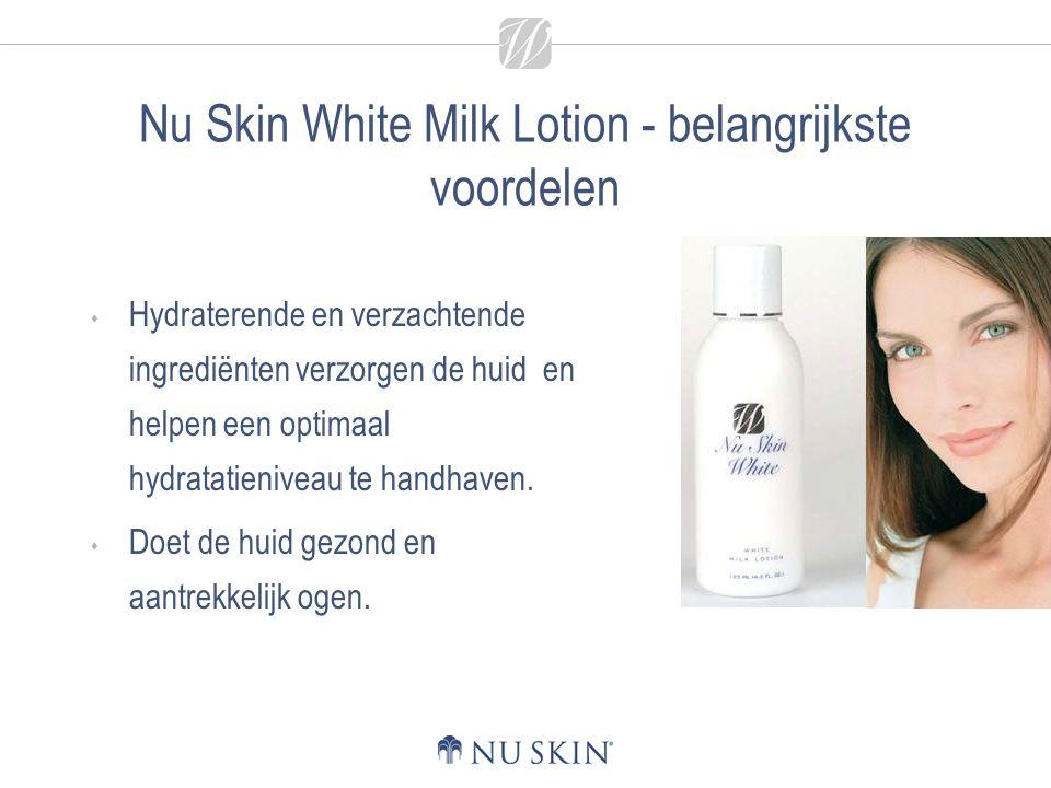 Nu Skin White Milk Lotion - belangrijkste voordelen  Hydraterende en verzachtende ingrediënten verzorgen de huid en helpen een optimaal hydratatieniveau te handhaven.
