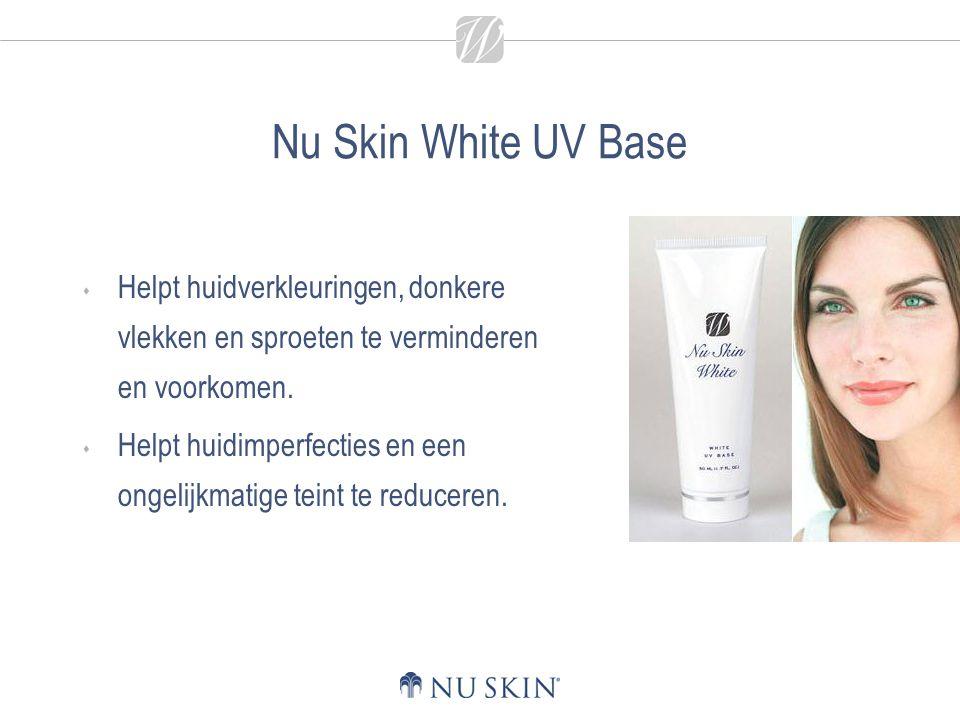 Nu Skin White UV Base  Helpt huidverkleuringen, donkere vlekken en sproeten te verminderen en voorkomen.  Helpt huidimperfecties en een ongelijkmati
