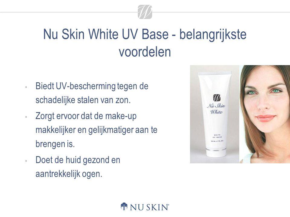 Nu Skin White UV Base - belangrijkste voordelen  Biedt UV-bescherming tegen de schadelijke stalen van zon.  Zorgt ervoor dat de make-up makkelijker