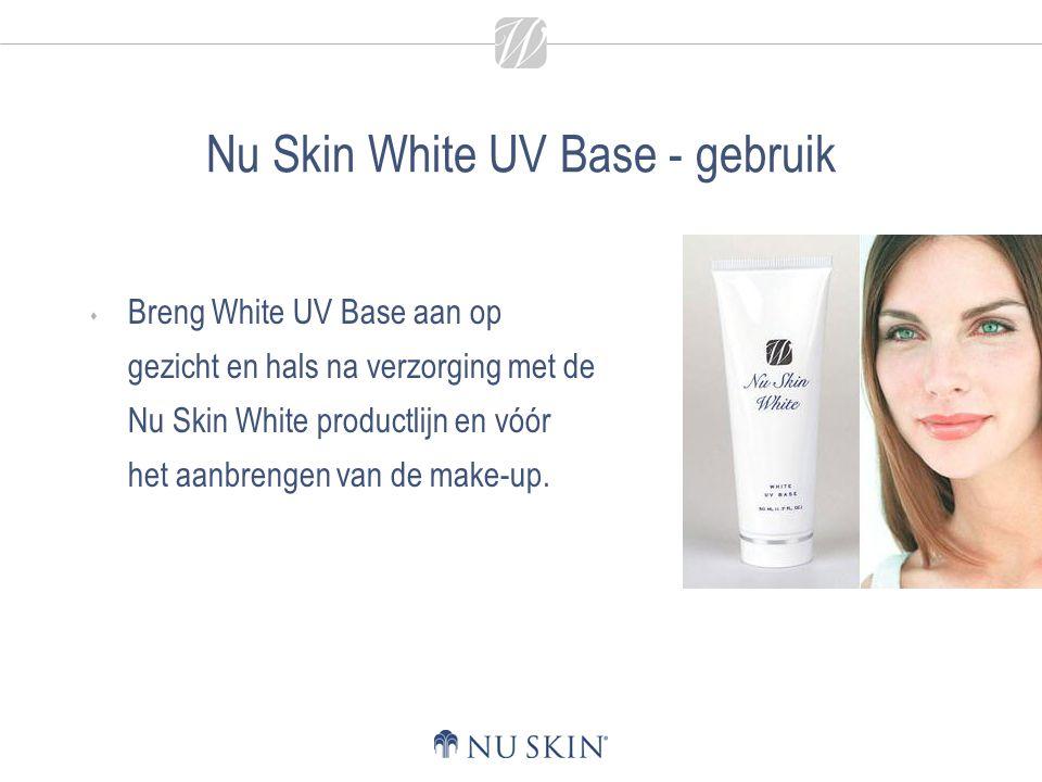 Nu Skin White UV Base - gebruik  Breng White UV Base aan op gezicht en hals na verzorging met de Nu Skin White productlijn en vóór het aanbrengen van
