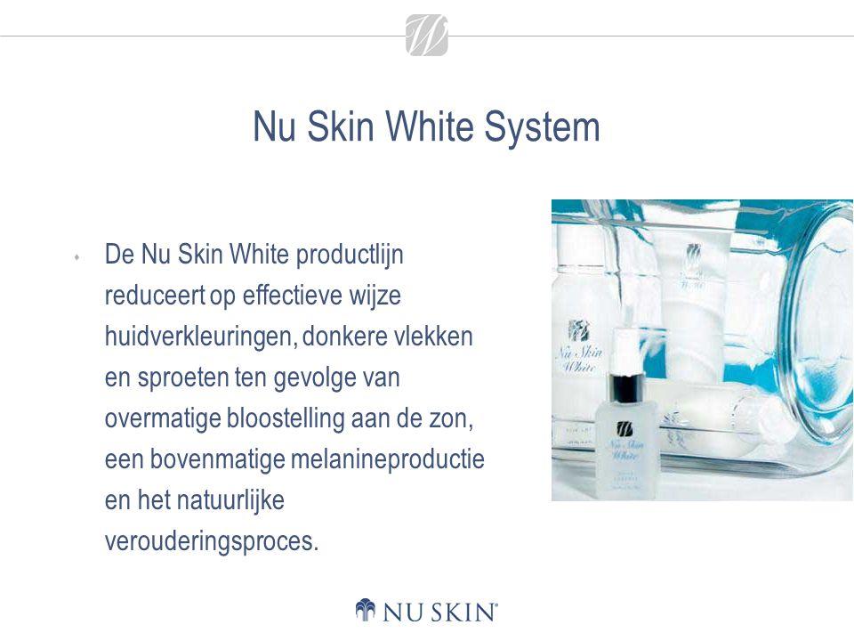 Nu Skin White System  De Nu Skin White productlijn reduceert op effectieve wijze huidverkleuringen, donkere vlekken en sproeten ten gevolge van overm