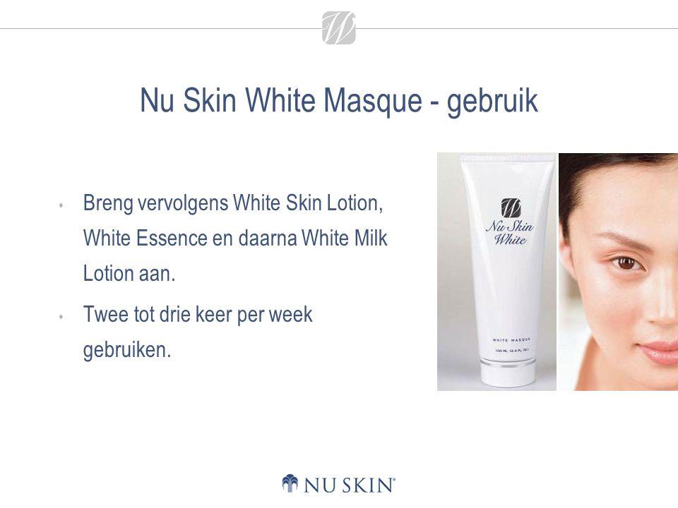 Nu Skin White Masque - gebruik  Breng vervolgens White Skin Lotion, White Essence en daarna White Milk Lotion aan.  Twee tot drie keer per week gebr