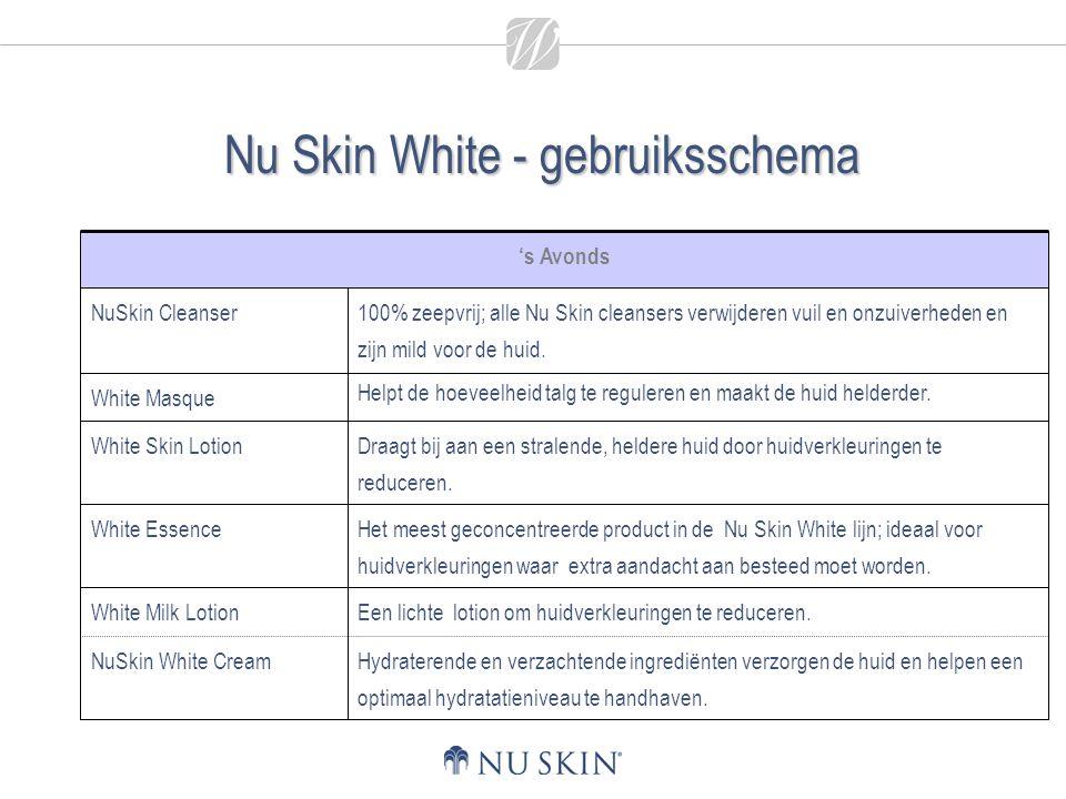 Nu Skin White - gebruiksschema Hydraterende en verzachtende ingrediënten verzorgen de huid en helpen een optimaal hydratatieniveau te handhaven. Een l