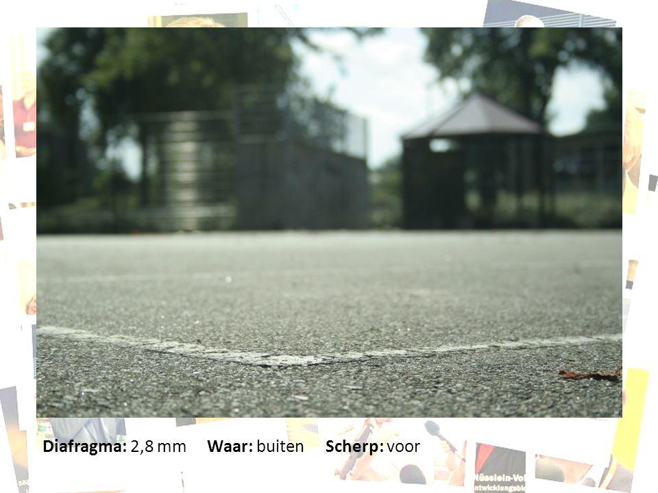 Diafragma: 2,8 mm Waar: buiten Scherp: voor