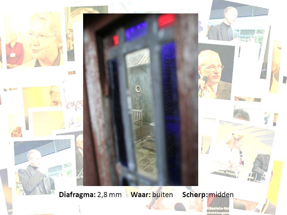 Diafragma: 2,8 mm Waar: buiten Scherp: midden