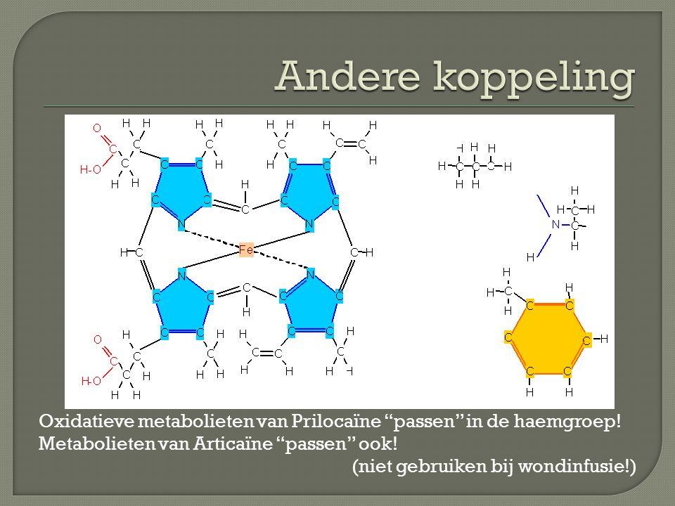 """Oxidatieve metabolieten van Prilocaïne """"passen"""" in de haemgroep! Metabolieten van Articaïne """"passen"""" ook! (niet gebruiken bij wondinfusie!)"""
