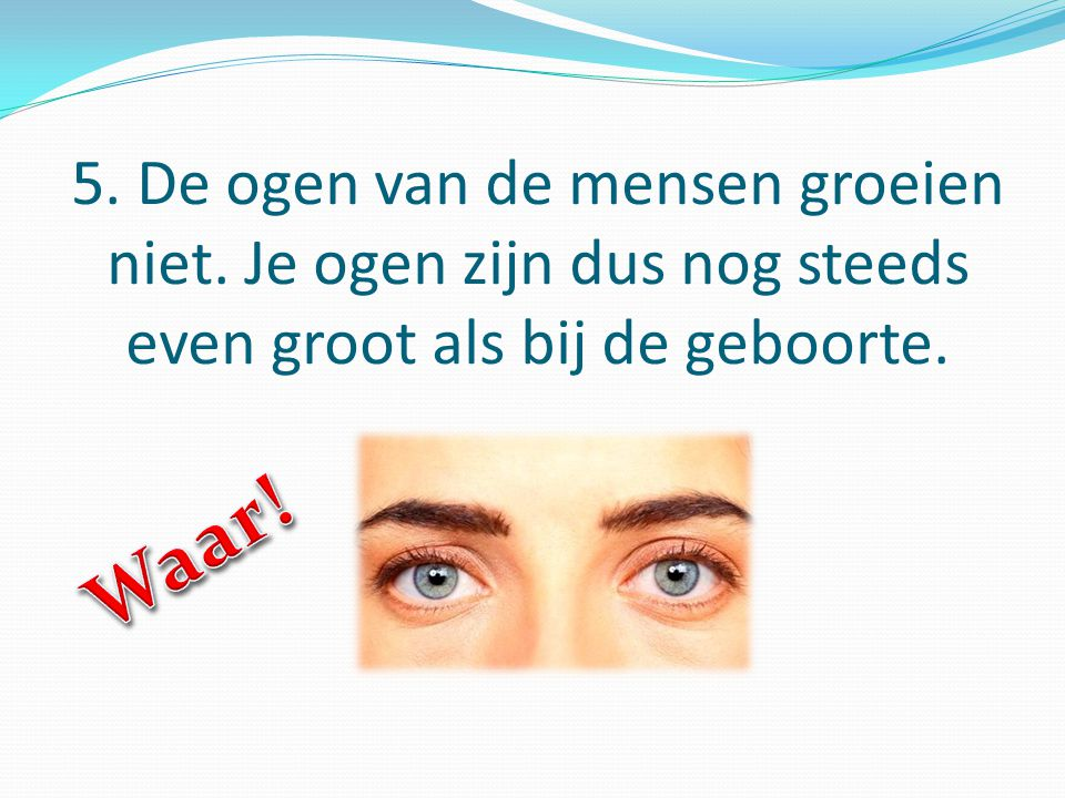 5. De ogen van de mensen groeien niet. Je ogen zijn dus nog steeds even groot als bij de geboorte.