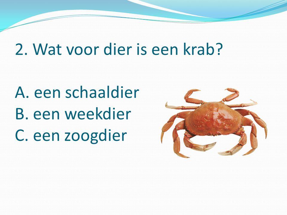 2. Wat voor dier is een krab A. een schaaldier B. een weekdier C. een zoogdier