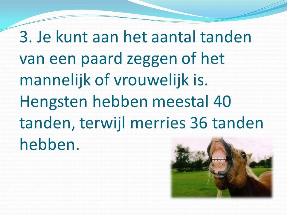 3.Je kunt aan het aantal tanden van een paard zeggen of het mannelijk of vrouwelijk is.