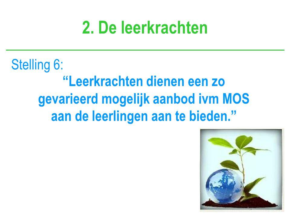 """2. De leerkrachten Stelling 6: """"Leerkrachten dienen een zo gevarieerd mogelijk aanbod ivm MOS aan de leerlingen aan te bieden."""""""