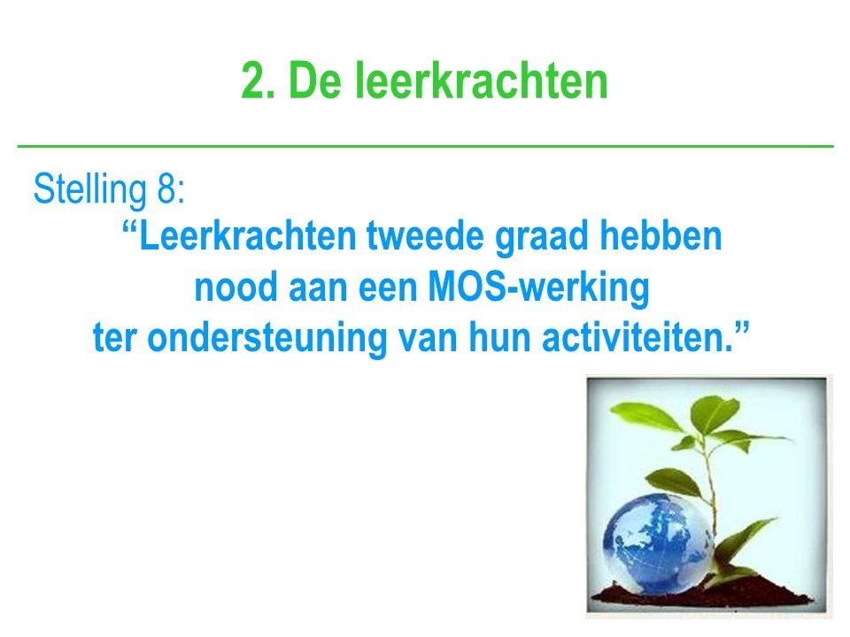 """2. De leerkrachten Stelling 8: """"Leerkrachten tweede graad hebben nood aan een MOS-werking ter ondersteuning van hun activiteiten."""""""