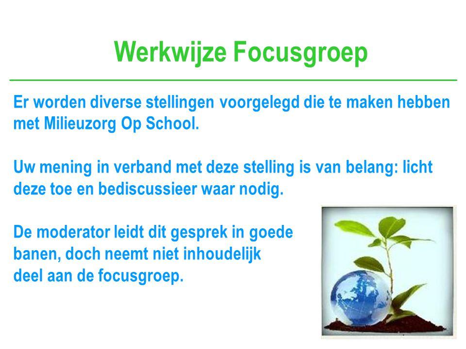 Werkwijze Focusgroep Er worden diverse stellingen voorgelegd die te maken hebben met Milieuzorg Op School.