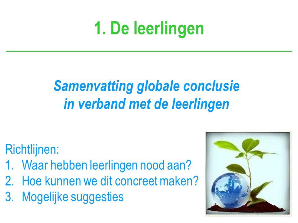 1. De leerlingen Samenvatting globale conclusie in verband met de leerlingen Richtlijnen: 1.Waar hebben leerlingen nood aan? 2.Hoe kunnen we dit concr