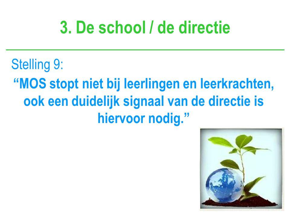 """3. De school / de directie Stelling 9: """"MOS stopt niet bij leerlingen en leerkrachten, ook een duidelijk signaal van de directie is hiervoor nodig."""""""