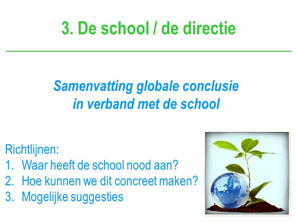 3. De school / de directie Samenvatting globale conclusie in verband met de school Richtlijnen: 1.Waar heeft de school nood aan? 2.Hoe kunnen we dit c