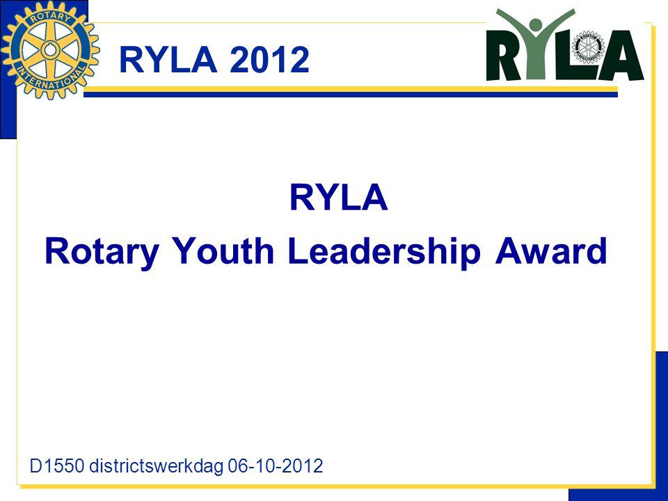 RYLA 2012 RYLA Rotary Youth Leadership Award D1550 districtswerkdag 06-10-2012