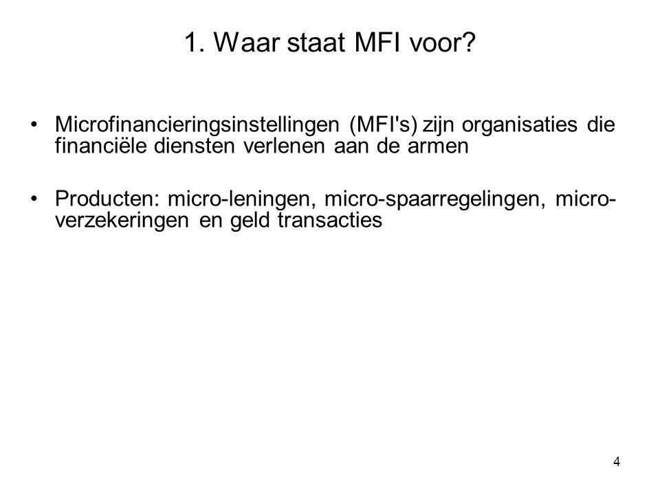 4 Microfinancieringsinstellingen (MFI s) zijn organisaties die financiële diensten verlenen aan de armen Producten: micro-leningen, micro-spaarregelingen, micro- verzekeringen en geld transacties