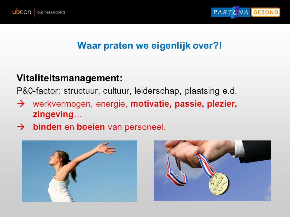 Definities Waar praten we eigenlijk over?! Vitaliteitsmanagement: P&0-factor: structuur, cultuur, leiderschap, plaatsing e.d.  werkvermogen, energie,