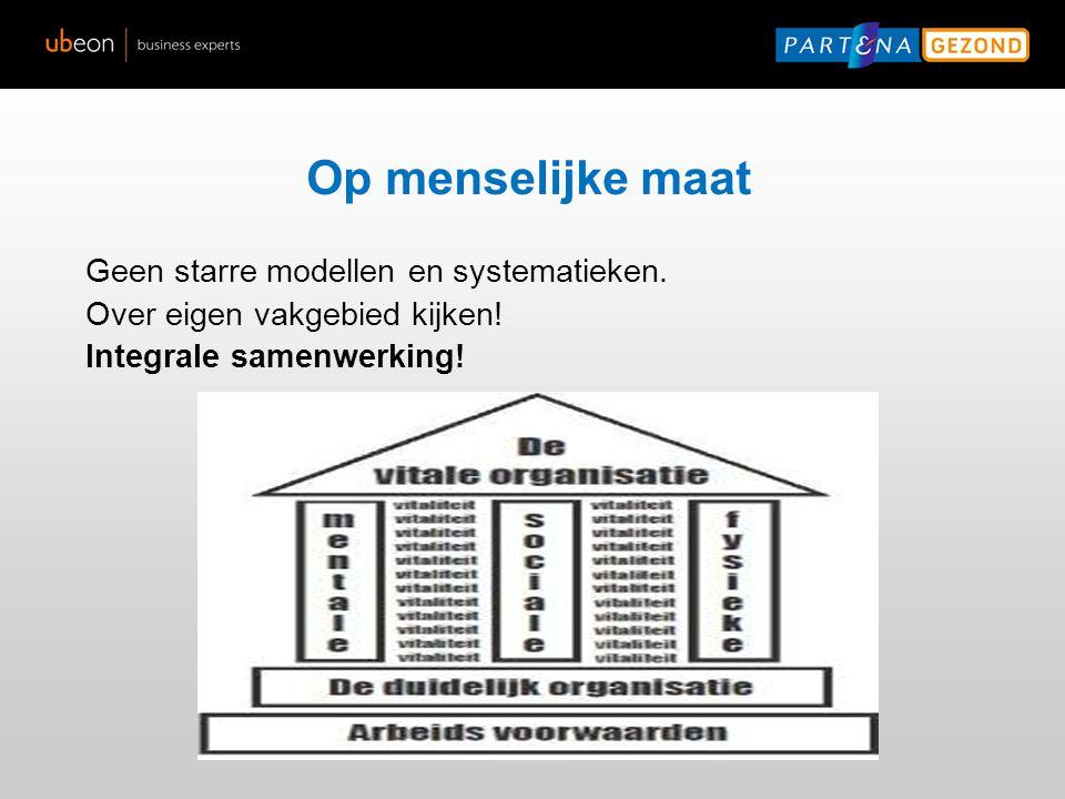 Op menselijke maat Geen starre modellen en systematieken. Over eigen vakgebied kijken! Integrale samenwerking!