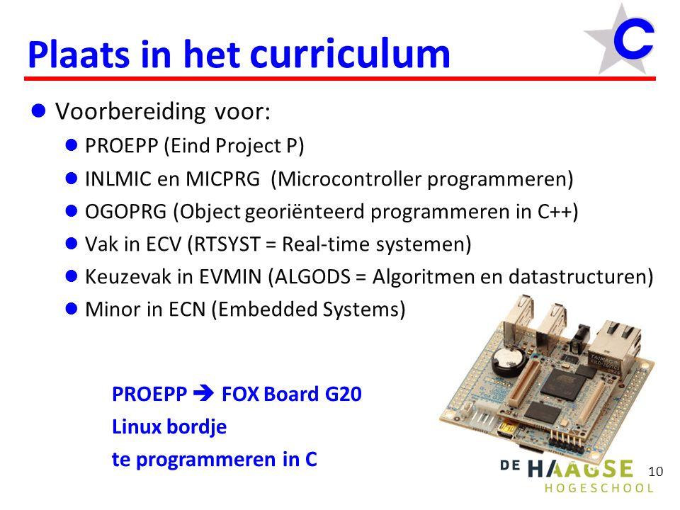 10 Plaats in het curriculum Voorbereiding voor: PROEPP (Eind Project P) INLMIC en MICPRG (Microcontroller programmeren) OGOPRG (Object georiënteerd pr