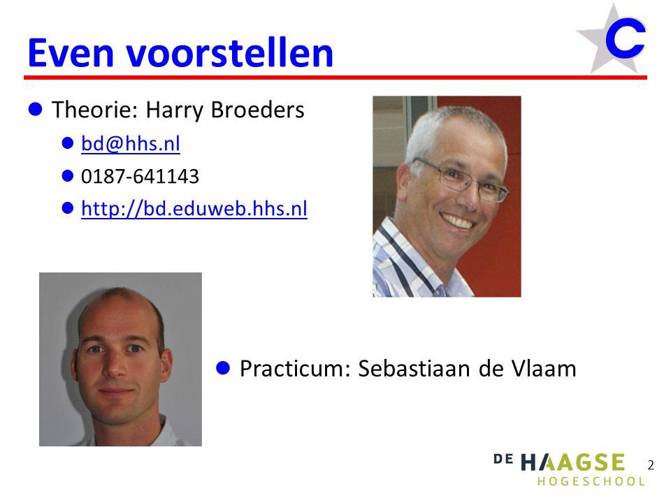 2 Even voorstellen Theorie: Harry Broeders bd@hhs.nl 0187-641143 http://bd.eduweb.hhs.nl Practicum: Sebastiaan de Vlaam