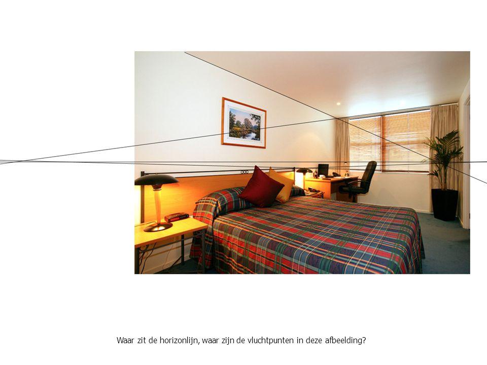 Waar zit de horizonlijn, waar zijn de vluchtpunten in deze afbeelding?