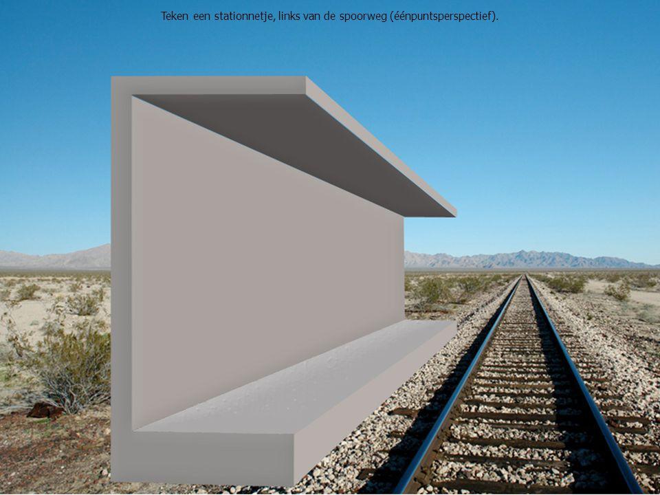 Teken een stationnetje, links van de spoorweg (éénpuntsperspectief).