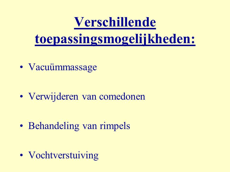 Verschillende toepassingsmogelijkheden: Vacuümmassage Verwijderen van comedonen Behandeling van rimpels Vochtverstuiving
