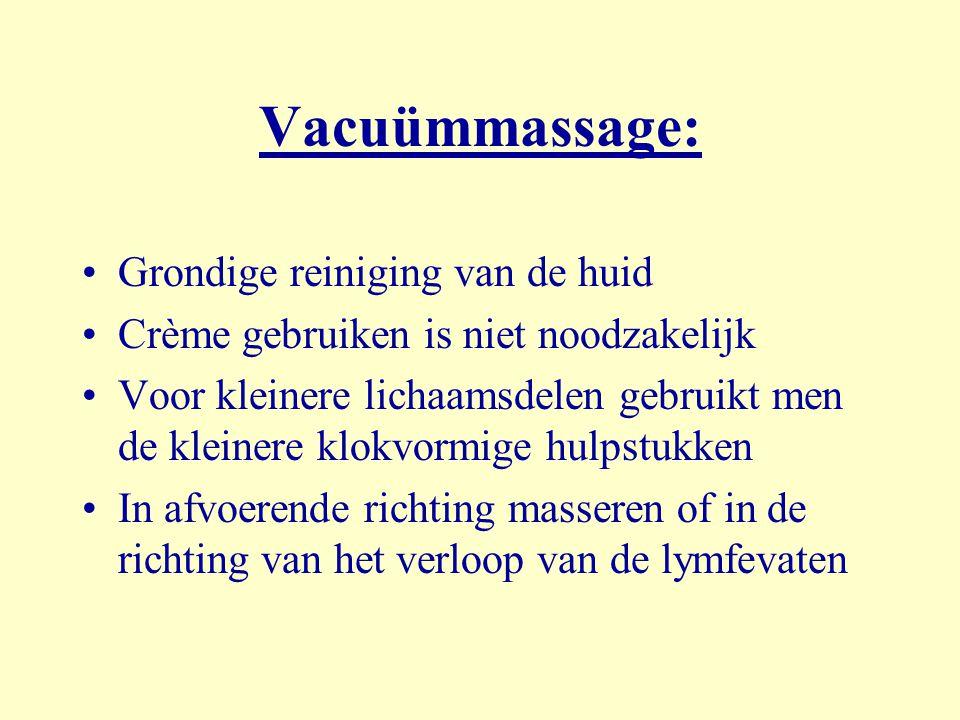 Vacuümmassage: Grondige reiniging van de huid Crème gebruiken is niet noodzakelijk Voor kleinere lichaamsdelen gebruikt men de kleinere klokvormige hu