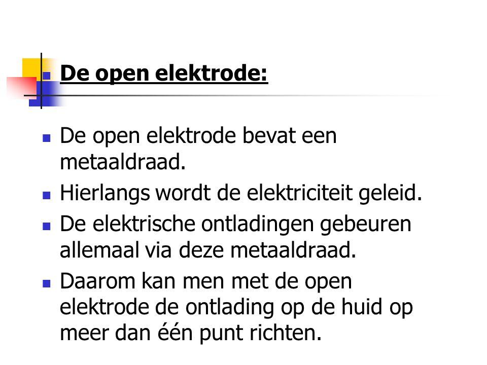 De open elektrode: De open elektrode bevat een metaaldraad. Hierlangs wordt de elektriciteit geleid. De elektrische ontladingen gebeuren allemaal via