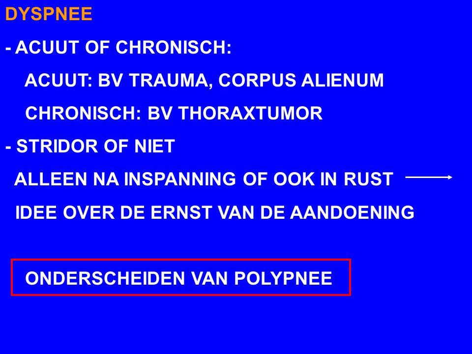 DYSPNEE - ACUUT OF CHRONISCH: ACUUT: BV TRAUMA, CORPUS ALIENUM CHRONISCH: BV THORAXTUMOR - STRIDOR OF NIET ALLEEN NA INSPANNING OF OOK IN RUST IDEE OVER DE ERNST VAN DE AANDOENING ONDERSCHEIDEN VAN POLYPNEE