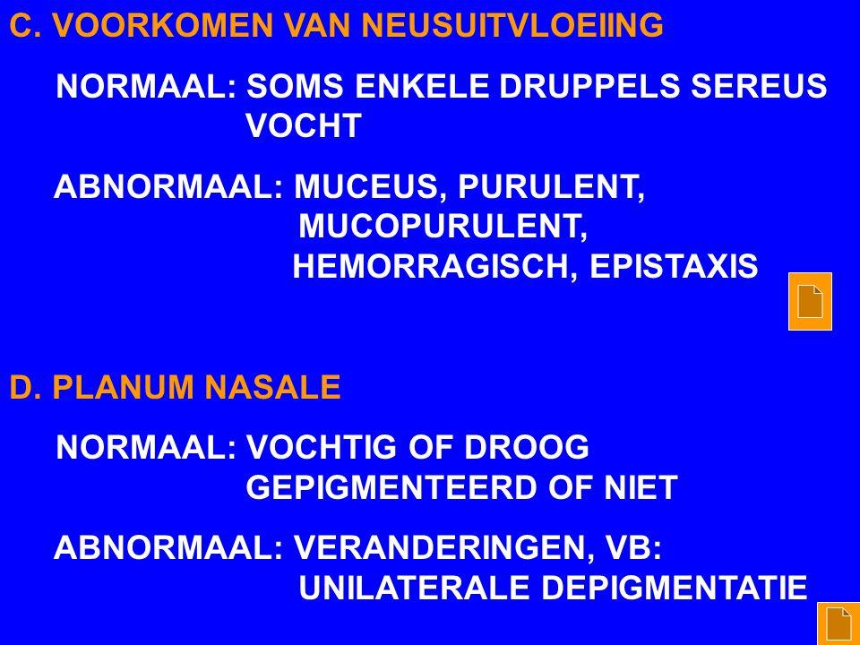 C. VOORKOMEN VAN NEUSUITVLOEIING NORMAAL: SOMS ENKELE DRUPPELS SEREUS VOCHT ABNORMAAL: MUCEUS, PURULENT, MUCOPURULENT, HEMORRAGISCH, EPISTAXIS D. PLAN