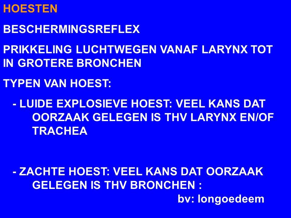 HOESTEN BESCHERMINGSREFLEX PRIKKELING LUCHTWEGEN VANAF LARYNX TOT IN GROTERE BRONCHEN TYPEN VAN HOEST: - LUIDE EXPLOSIEVE HOEST: VEEL KANS DAT OORZAAK GELEGEN IS THV LARYNX EN/OF TRACHEA - ZACHTE HOEST: VEEL KANS DAT OORZAAK GELEGEN IS THV BRONCHEN : bv: longoedeem