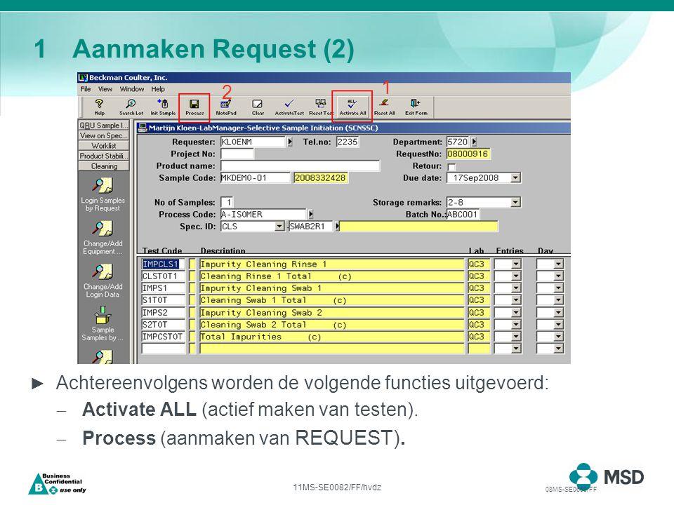 11MS-SE0082/FF/hvdz 1Aanmaken Request (2) ► Achtereenvolgens worden de volgende functies uitgevoerd:  Activate ALL (actief maken van testen).