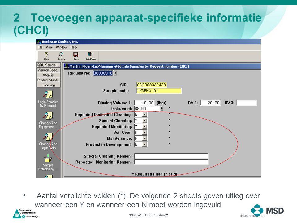 11MS-SE0082/FF/hvdz 2Toevoegen apparaat-specifieke informatie (CHCI) Aantal verplichte velden (*).