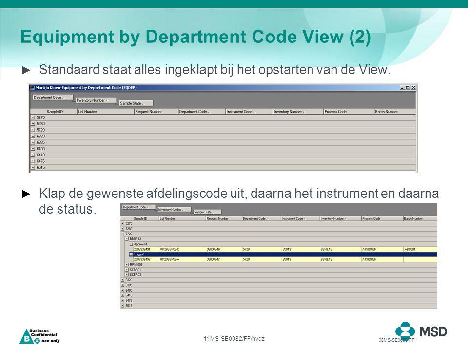11MS-SE0082/FF/hvdz Equipment by Department Code View (2) ► Standaard staat alles ingeklapt bij het opstarten van de View.