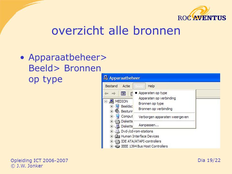 Opleiding ICT 2006-2007 © J.W. Jonker Dia 19/22 overzicht alle bronnen Apparaatbeheer> Beeld> Bronnen op type