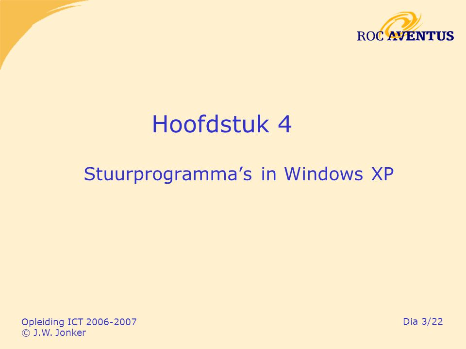 Opleiding ICT 2006-2007 © J.W. Jonker Dia 3/22 Hoofdstuk 4 Stuurprogramma's in Windows XP