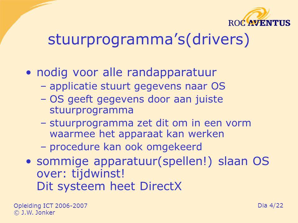 Opleiding ICT 2006-2007 © J.W. Jonker Dia 4/22 stuurprogramma's(drivers) nodig voor alle randapparatuur –applicatie stuurt gegevens naar OS –OS geeft