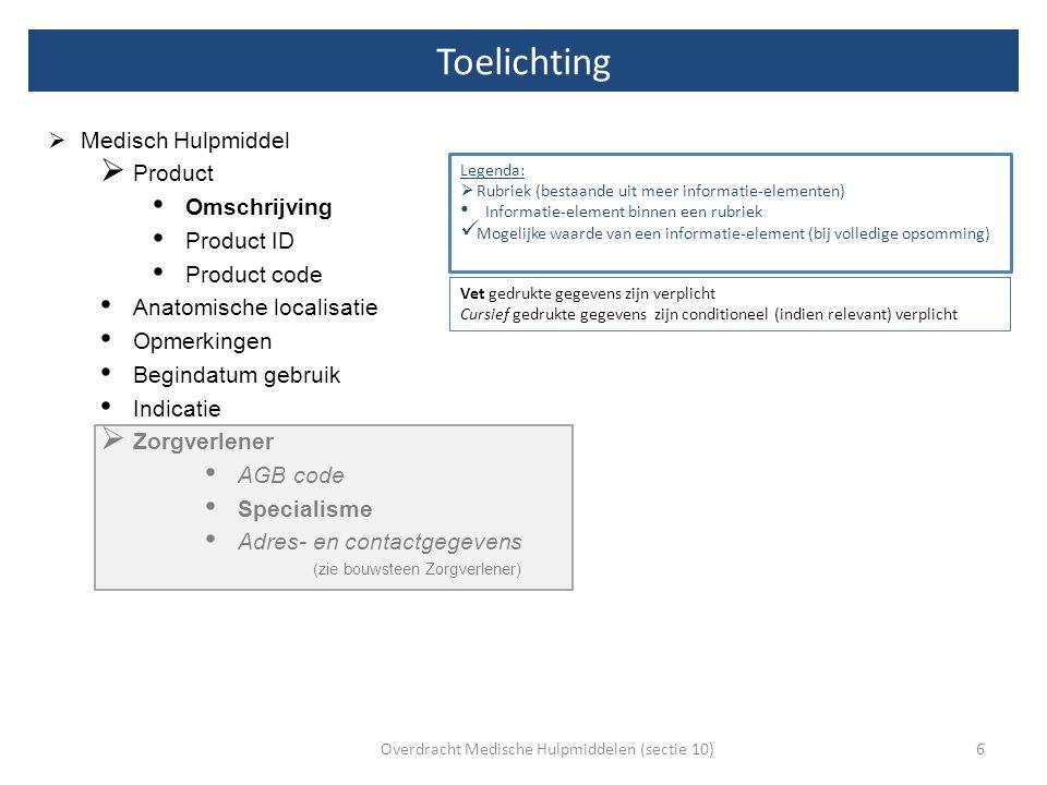  Medisch Hulpmiddel  Product Omschrijving Product ID Product code Anatomische localisatie Opmerkingen Begindatum gebruik Indicatie  Zorgverlener AG