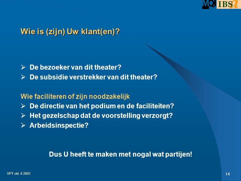 13 VPT okt. 6 2003 Waarde creatie is de topic dus:  Belangrijke vraag:  Wie zijn Uw klanten, dus degenen die er zorg voor dragen dat geldstromen ric