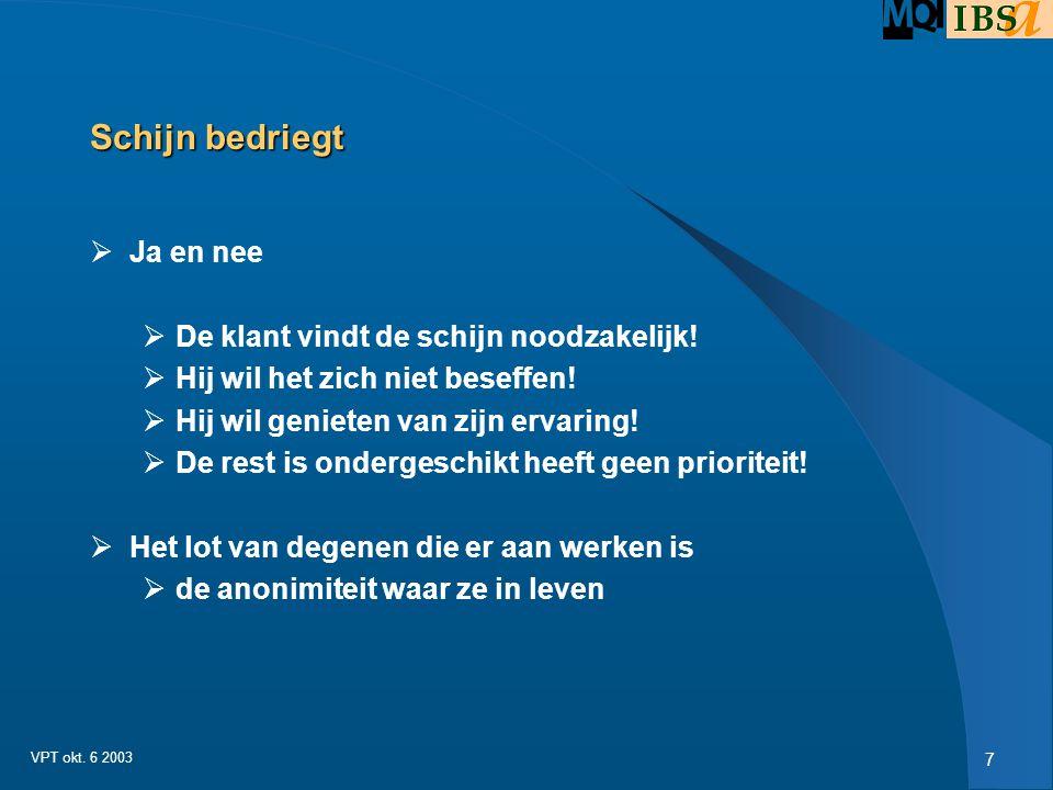 7 VPT okt.6 2003 Schijn bedriegt  Ja en nee  De klant vindt de schijn noodzakelijk.