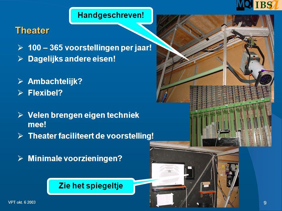 8 VPT okt. 6 2003 Criteria voor dit soort attracties  M 2 beslag binnen het terrein  Capaciteit per uur  Verwachte thrill voor bezoeker (adrenaline
