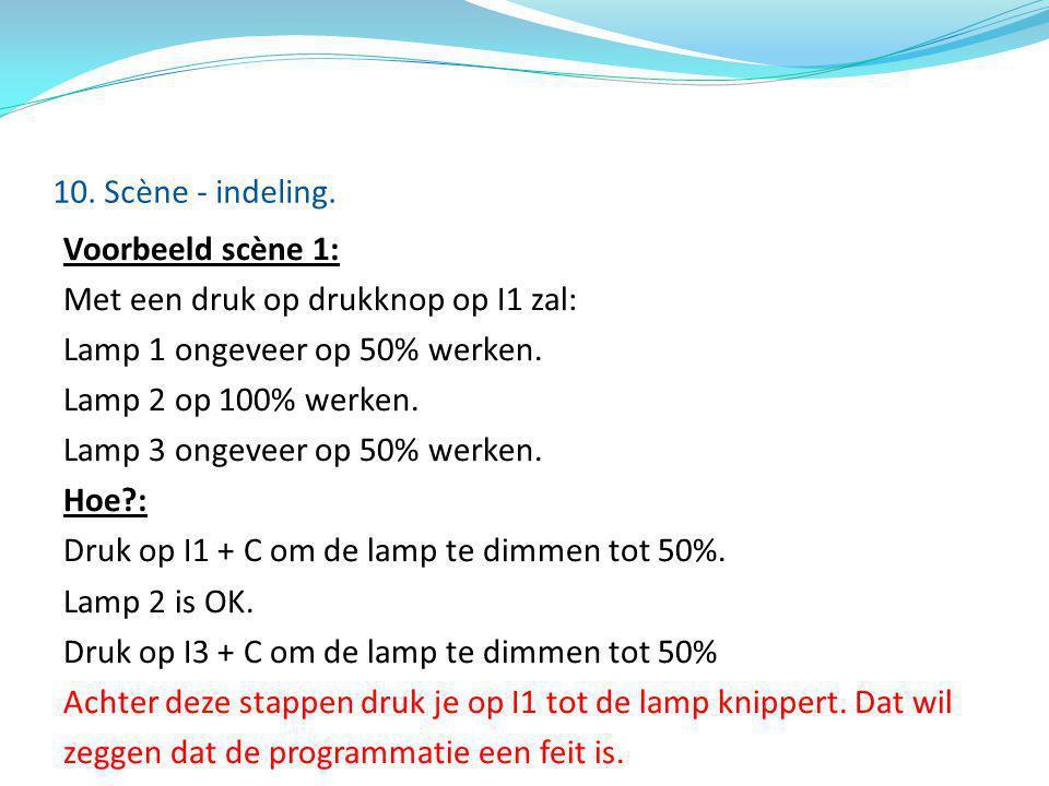Voorbeeld scène 1: Met een druk op drukknop op I1 zal: Lamp 1 ongeveer op 50% werken. Lamp 2 op 100% werken. Lamp 3 ongeveer op 50% werken. Hoe?: Druk